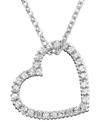 CRISLU Open Heart Cubic Zirconia Necklace (5/8 ct. t.w.)