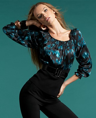 INC International Concepts® Long-Sleeved Printed Belted Top - Tops - Women's - Macy's :  silk blouse shirt shirts international concepts