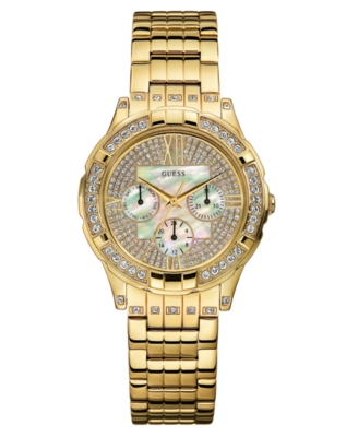 GUESS Watch, Women's Goldtone Crystal Accented Bracelet U13539L1
