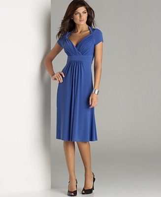 JONES NEW YORK DRESS Cap-Sleeve V-Neck Matte Jersey Dress - Wear to Work Daytime Dresses - Women's  - Macy's from macys.com