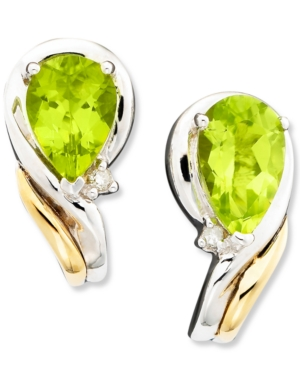 14k Gold & Sterling Silver Peridot (1-5/8 ct. t.w.) & Diamond Accent Earrings