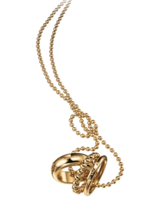 D&G Dolce & Gabbana Goldtone Stainless Steel Triple Ring Necklace