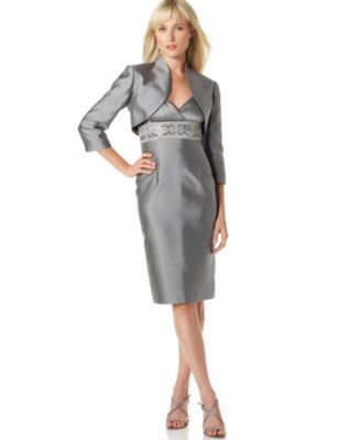 Adrianna Papell V-Neck Empire-Waist Bead-Detail Dress & Jacket
