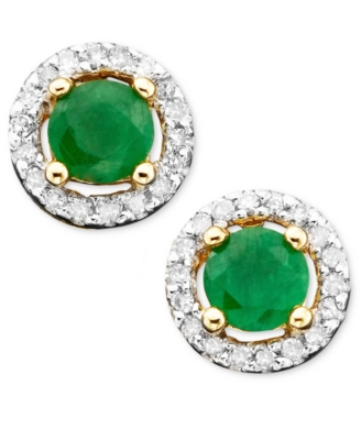 14k Gold Emerald (1/2 ct. t.w.) & Diamond (1/10 ct. t.w.) Earrings