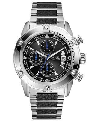 guess s chronograph stainless steel and carbon