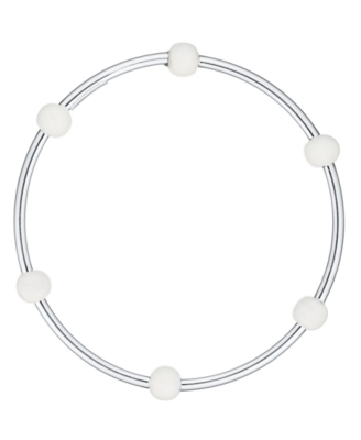 L'una Sterling Silver X-Large White Enamel Six Bead Bangle Bracelet
