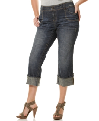 Hydraulic Plus Size Convertible Cropped Utility Jeans