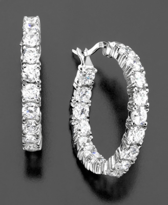Sterling Silver Cubic Zirconia Hoop Earrings (7-3/4 ct. t.w.) - Hoop Earrings