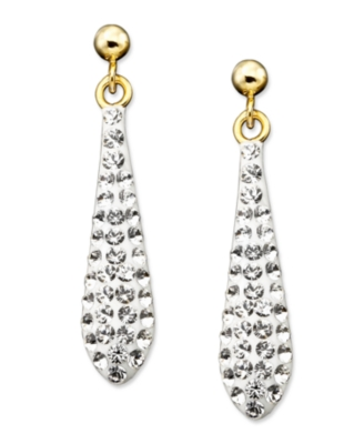 14k Gold Crystal Accent Drop Earrings