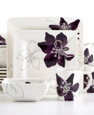 CLOSEOUT! Laurie Gates Dinnerware, Anna Plum 16 Piece Set