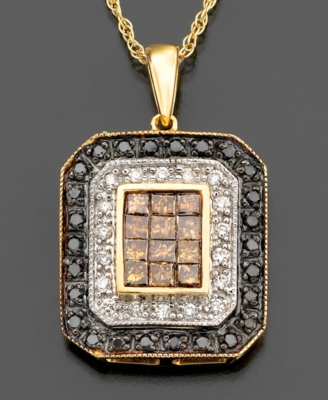14k Gold Black, White, & Champagne Diamond Rectangle Pendant (3/4 ct. t.w.)