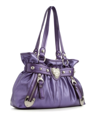 Kathy Van Zeeland Handbag, KVZ Heart Beat Belt Shopper - Metallic Shoulder Bag