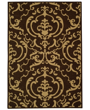 """MANUFACTURER'S CLOSEOUT! Safavieh Area Rug, Courtyard Indoor/Outdoor CY2663-3409 Chocolate/Natural 6' 7"""" Round"""