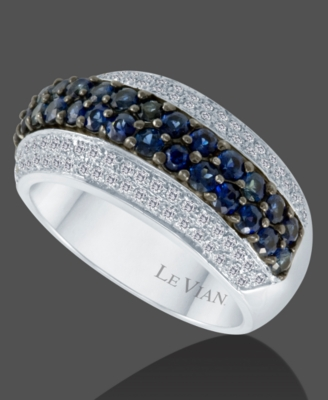 Le Vian 14k White Gold Sapphire (1-3/10 ct. t.w.) & Diamond (3/10 ct. t.w.) Ring
