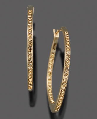 Fossil Goldtone Mixed Metal and Crystal Accent Hoop Earrings