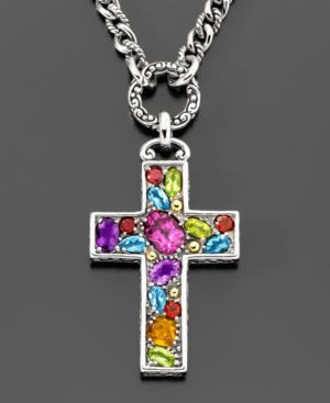 18k Gold & Sterling Silver Multi-Stone Cross Pendant (5-1/5 ct. t.w.)