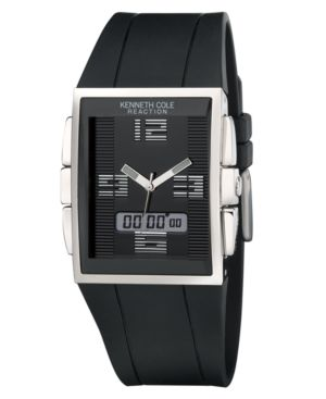 Kenneth Cole New York Watch, Men's Black Polyurethane Strap KC1376 - Watches