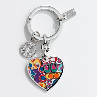 COACH HEART WITH PEACE SIGN PAVE CHARM KEYFOB - Key Rings - COACH  - Macy's :  coach heart with peace sign pave charm keyfob coach key rings