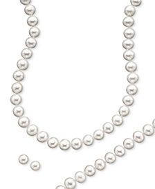 Cultured Freshwater Pearl Necklace (8-9mm), Stud Earrings (7mm) & Bracelet (8-9mm) Set in  14k Gold