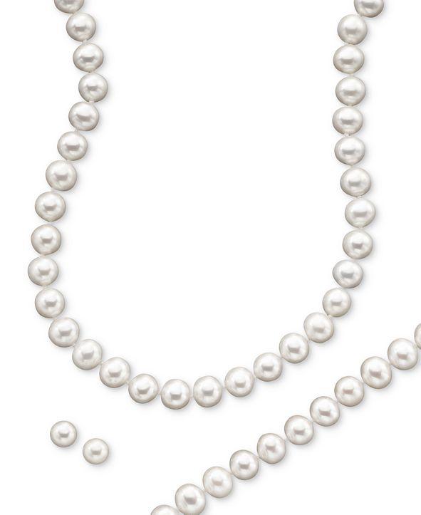 Macy's Cultured Freshwater Pearl Necklace (8-9mm), Stud Earrings (7mm) & Bracelet (8-9mm) Set in  14k Gold