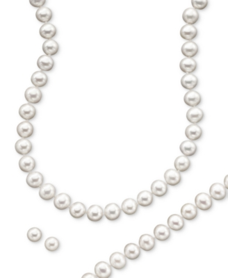 14k Gold Cultured Freshwater Pearl Necklace, Earring & Bracelet Set