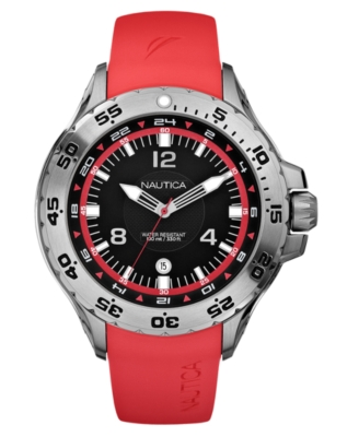 Nautica Watch, Men's Red Resin Strap N12551G