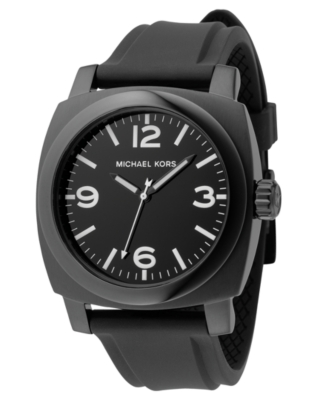 MICHAEL Michael Kors Watch, Men's Black Polyurethane Strap MK7044 - Dial Watches