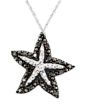 Diamond Necklace, 14k White Gold Black Diamond (1/5 ct. t.w.) and White Diamond Accent Starfish Pendant