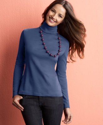 Charter Club Top, Long Sleeve Knit Turtleneck