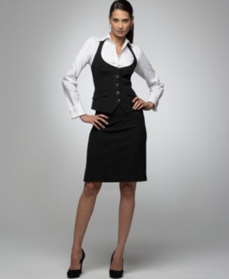 Alfani Pinstriped Strappy Vest &  Flounced Pencil Skirt