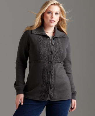 Style&co. Plus Size Sweater, Cardigan Cable Knit