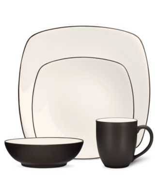 Noritake Dinnerware, Colorwave Chocolate Square 4 Piece Place Setting