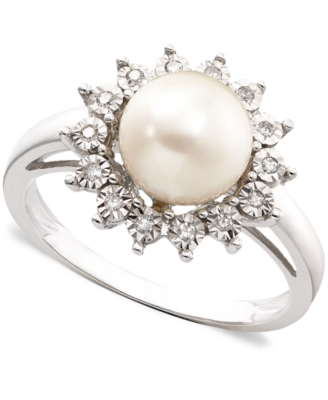 14k White Gold Ring, Cultured Freshwater Pearl & Diamond Accent