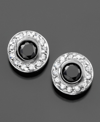 Sterling Silver Earrings, Black & White Cubic Zirconia Stud (2-1/5 ct. t.w.)