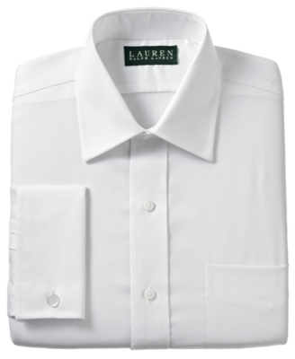 Lauren by Ralph Lauren Dress Shirt, White Texture French Cuff - Lauren by Ralph Lauren Mens