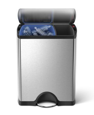 simplehuman Brushed Stainless Steel Rectangular Dual Recycler Trash Step Can, 46L
