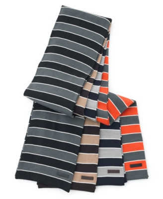 Calvin Klein Scarf, Striped Cotton