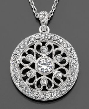 Eliot Danori Pendant, Cubic Zirconia (1/4 ct. t.w.) and Crystal Accent Filigree - Jewelry