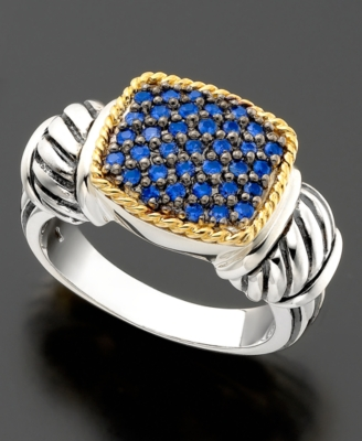 18k Gold and Sterling Silver Ring, Sapphire (5/8 ct. t.w.)