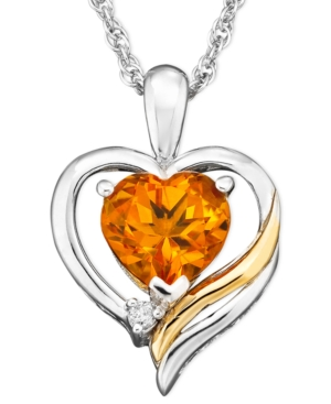 14k Gold and Sterling Silver Pendant, Citrine (1 ct. t.w.) and Diamond Accent