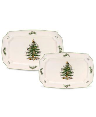 Spode Serveware, Set of 2 Christmas Tree Rectangular Platters