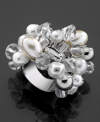 GUESS Ring, Glass Pearl and Crystal Accent