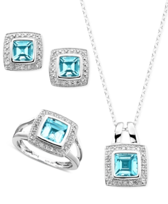 Sterling Silver Pendant, Ring and Earrings, Blue and White Topaz (2-1/2 ct. t.w.) and Diamond Accent Set