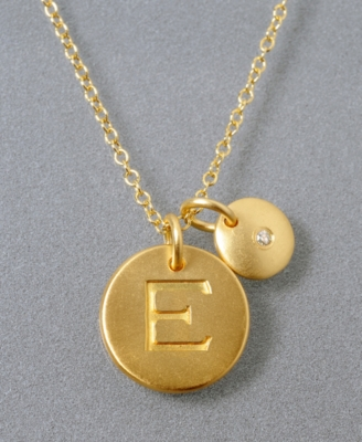 18k Gold Over Sterling Silver Pendant, E Initial
