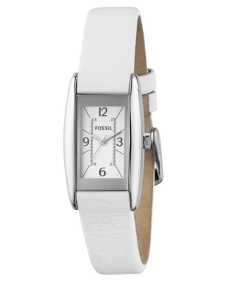 Fossil Watch, Women's White Leather Strap ES2417