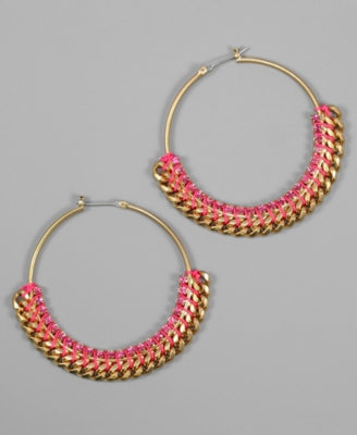 Rachel Rachel Roy Earrings, Pink Goldtone Hoops