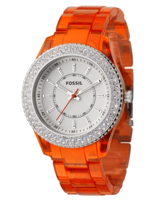 Fossil Watch, Women's Orange Resin Strap ES2453