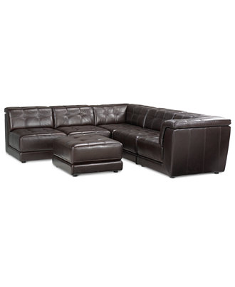 Stacey Leather 6 Piece Modular Sectional Sofa 3 Armless Chairs 2 Square Corners And