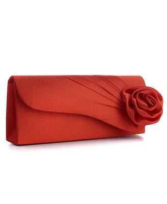Jessica McClintock Handbag, Satin Clutch with Rose