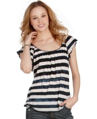 American Rag Top, Striped Short Sleeve Scoopneck